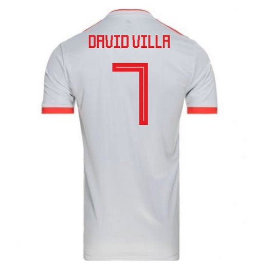 2018-2019 Spain Away Adidas Football Shirt (David Villa 7)
