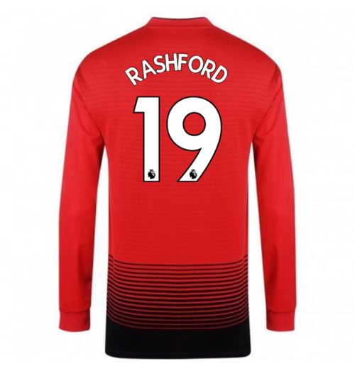 2018-2019 Man Utd Adidas Home Long Sleeve Shirt (Rashford 19)