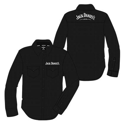 JACK DANIELS Long Sleeve Button Up Black Paisley Print Shirt