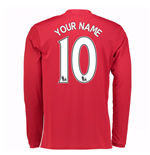 2016-17 Man United Home Long Sleeve Shirt (Your Name)