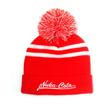 FALLOUT 76 Embroidered Nuka-Cola Logo Bobble Beanie, Unisex, One Size, Red/White