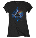 Pink Floyd Ladies Tee: Dark Side of the Moon Blue Splatter