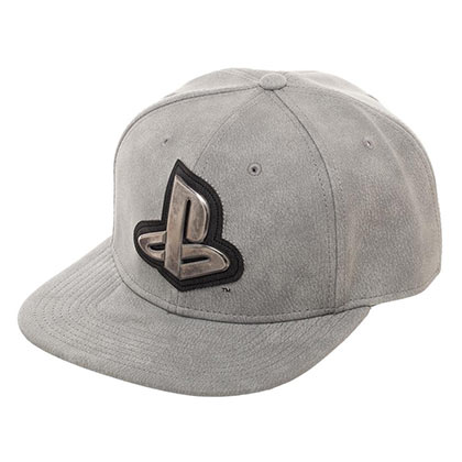PLAYSTATION Gray Distressed Metal Logo Snapback Hat