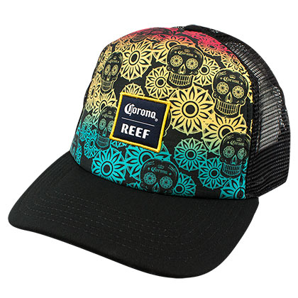 Corona Reef Rainbow Sugar Skull Trucker Hat