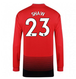 2018-2019 Man Utd Adidas Home Long Sleeve Shirt (Shaw 23) - Kids
