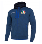 2018-2019 Italy Macron Rugby Full Zip Hooded Sweatshirt (Blue)