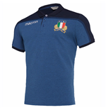 2018-2019 Italy Macron Rugby Official Cotton Polo Shirt Blue