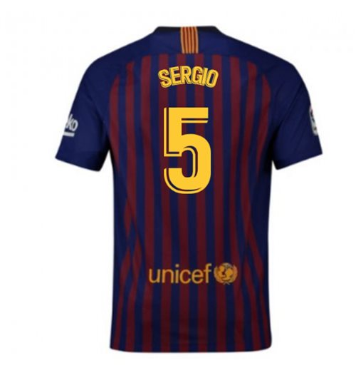 2018-2019 Barcelona Home Nike Football Shirt (Sergio 5) - Kids