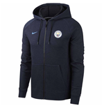 2018-2019 Manchester City Nike Venue Full Zip Hoodie (Obsidian)
