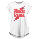David Bowie - Rebel Rebel - Unisex Ladies Rolled Sleeve Tee White