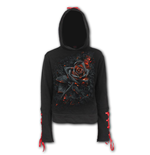 Burnt Rose - Red Ribbon Gothic Hoody Black