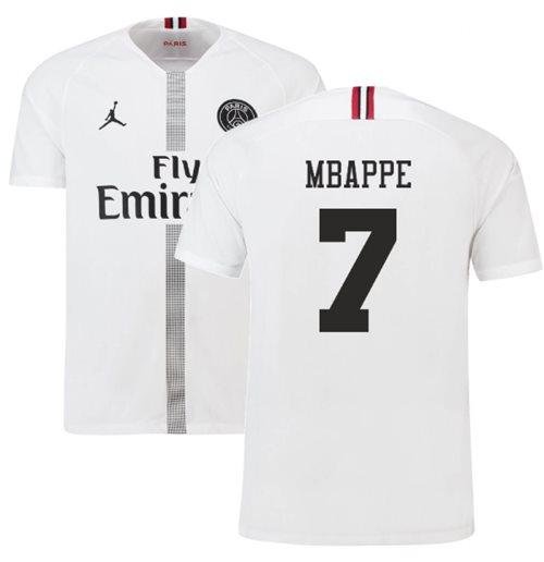 best service ecf69 dc45e 2018-19 PSG Third Shirt White (Mbappe 7)