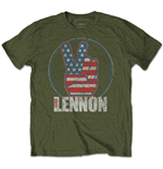 John Lennon Men's Tee: Peace Fingers US Flag