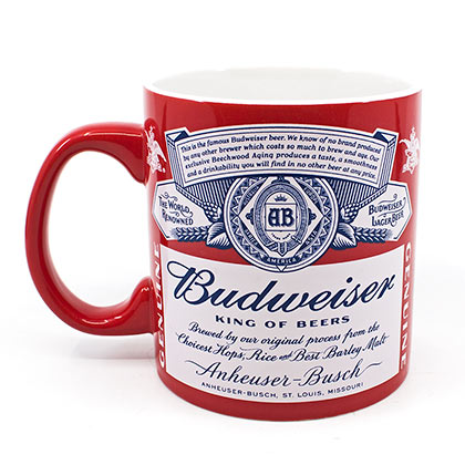 BUDWEISER Label Red And White Coffee Mug
