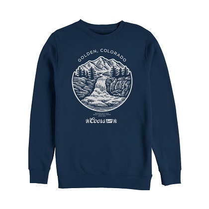 COORS Banquet Waterfall Golden Colorado Navy Blue Crewneck Sweatshirt