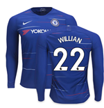 2018-2019 Chelsea Home Nike Long Sleeve Shirt (Willian 22)
