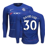 2018-2019 Chelsea Home Nike Long Sleeve Shirt (David Luiz 30)