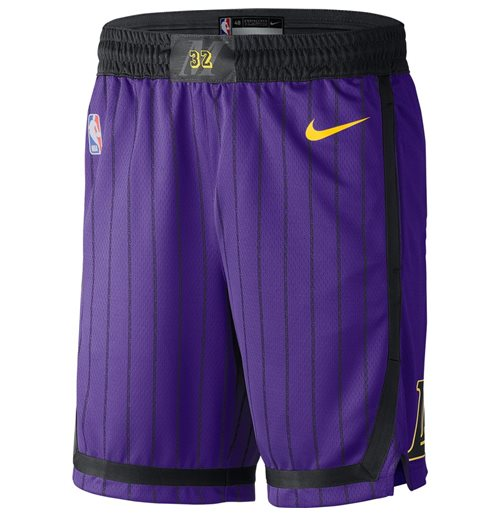 Men's Los Angeles Lakers Nike Purple City Edition Swingman Shorts