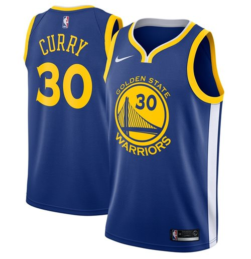Men's Golden State Warriors Stephen Curry Nike Royal Icon Edition Swingman Jersey