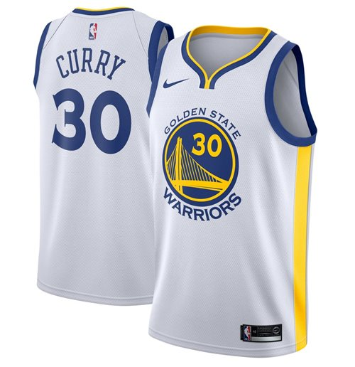 Men's Golden State Warriors Stephen Curry Nike White Association Edition Swingman Jersey