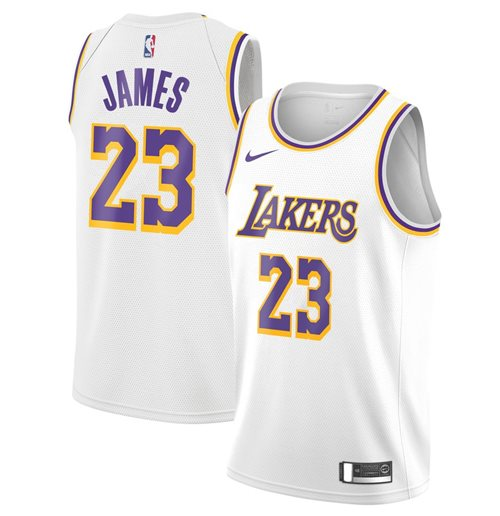 Men's Los Angeles Lakers LeBron James Nike White Association Edition Swingman Jersey