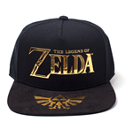 NINTENDO Legend of Zelda Gold Logo & Royal Crest Snapback Baseball Cap, Unisex, Black