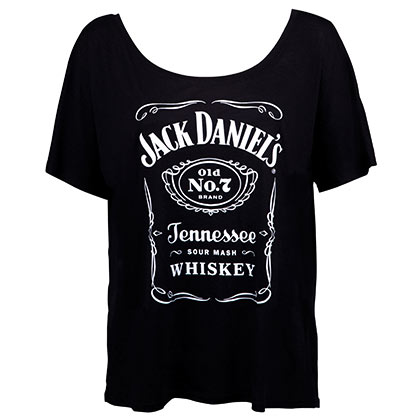 JACK DANIELS Loose Fit Women's Bottle Label Logo Tshirt