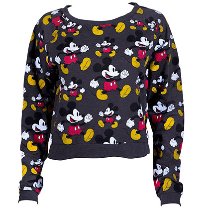 Mickey Mouse All Over Design Cropped Women's Sweatshirt