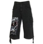 Life And Death Cross - Vintage Cargo Shorts 3/4 Long Black (Plain)