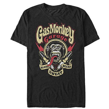 Gas Monkey Blood Sweat Beers Black Tee Shirt