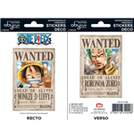 One Piece - Stickers - 16X11Cm/ 2 Sheets - Wanted Luffy/ Zoro  X5