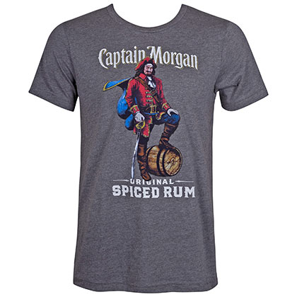 CAPTAIN MORGAN Spiced Rum Grey Tee Shirt