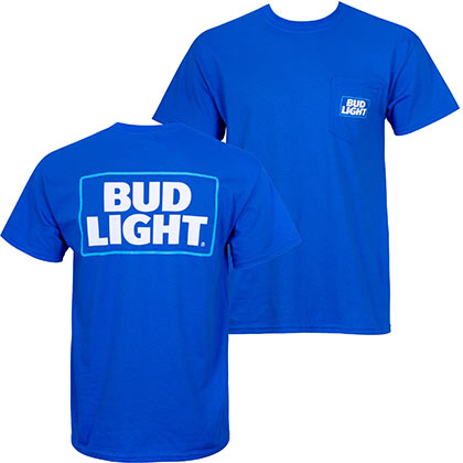 BUD LIGHT Modern Logo Blue Pocket Tee Shirt