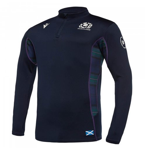 2019-2020 Scotland Macron Rugby Softshell Half Zip Top (Navy)