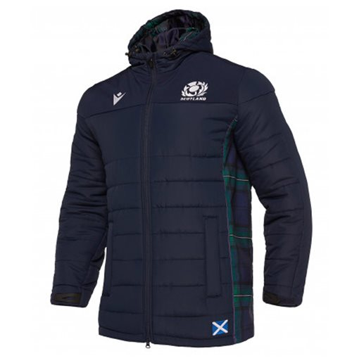 2019-2020 Scotland Macron Rugby Travel Long Puffa Jacket (Navy)
