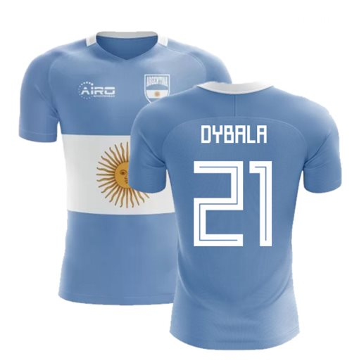 2018-2019 Argentina Flag Concept Football Shirt (Dybala 21) - Kids