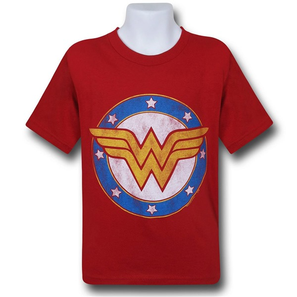 Wonder Woman Symbol  and  Stars Kids T-Shirt