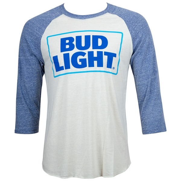 Bud Light Beer Men's Blue And White Raglan T-Shirt