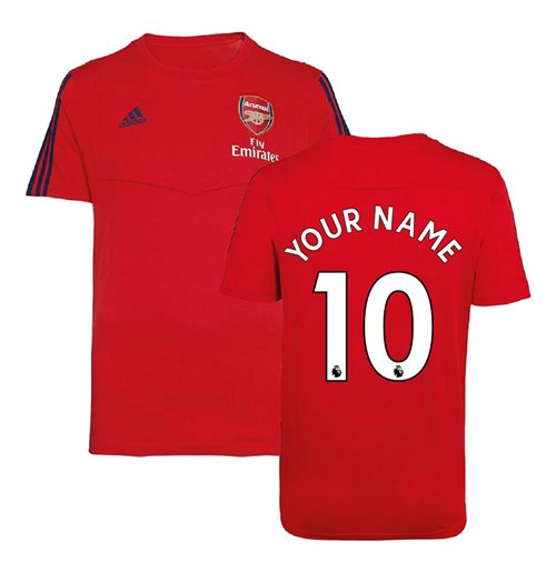 2019-2020 Arsenal Adidas Training Tee (Red) (Your Name)
