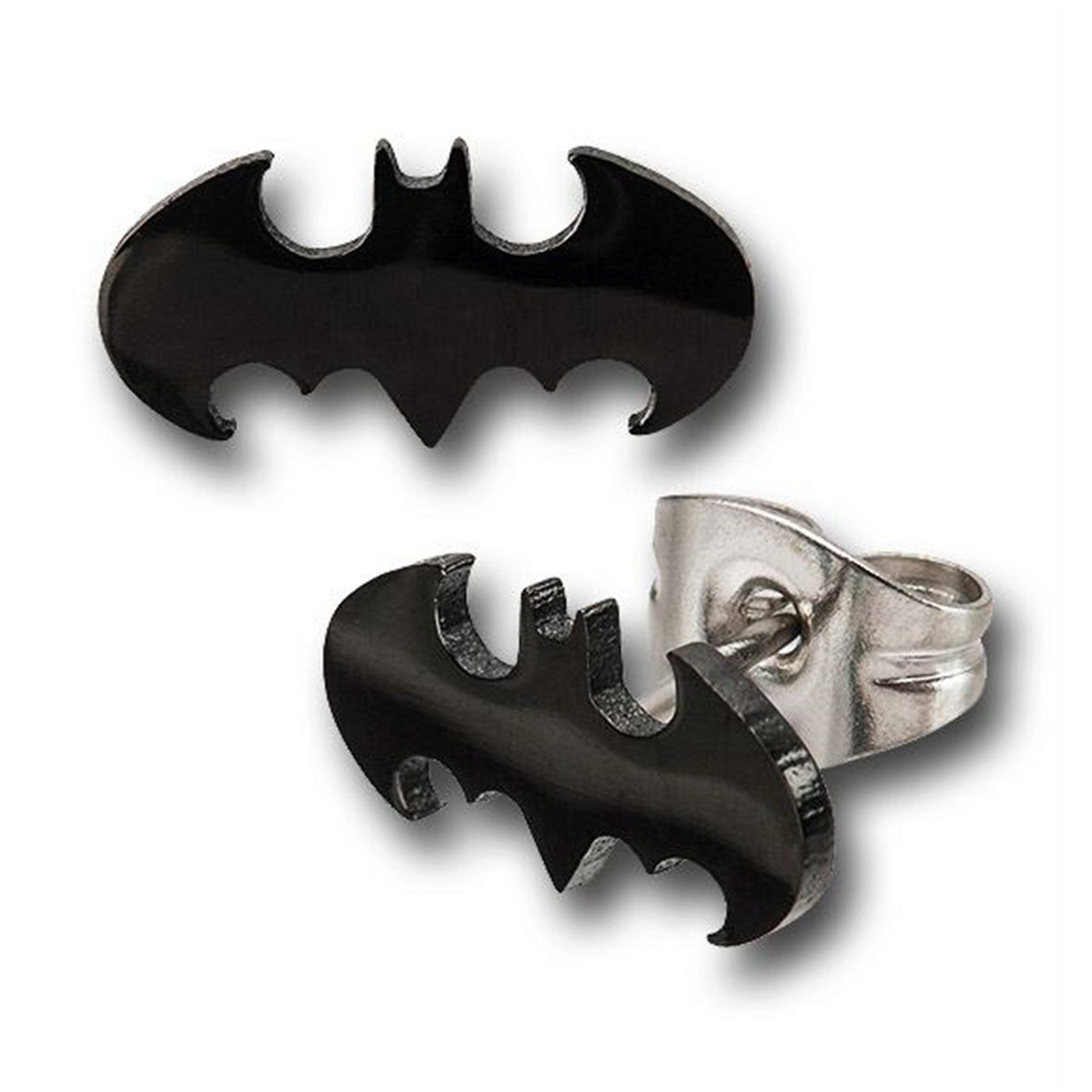 Batman Black Die-Cut 316L Surgical Steel Stud Earrings