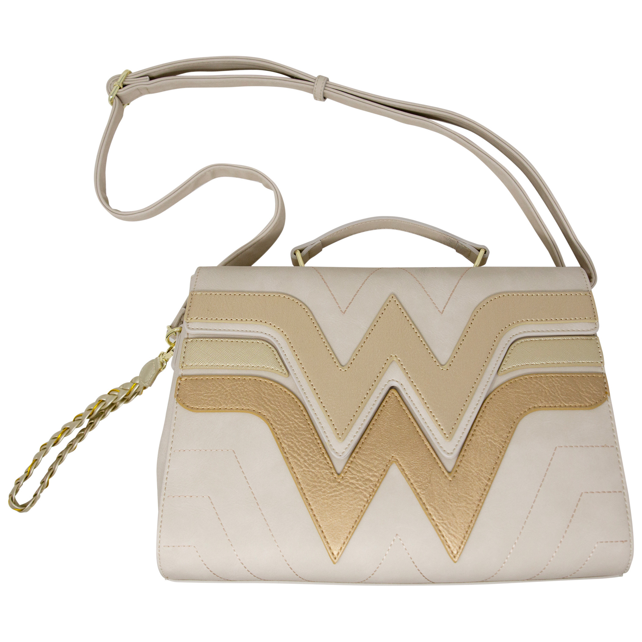Wonder Woman Golden Faux Leather Crossbody Purse