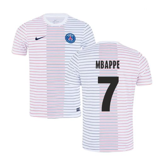 2019-2020 PSG Nike Pre-Match Training Shirt (White) (MBAPPE 7)