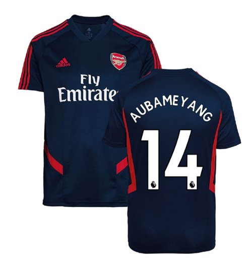 2019-2020 Arsenal Adidas Training Shirt (Navy) - Kids (Aubameyang 14)
