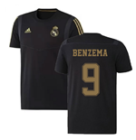 2019-2020 Real Madrid Adidas Training Tee (Black) (BENZEMA 9)