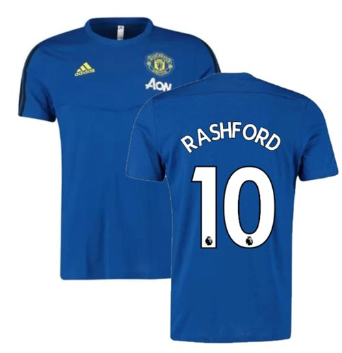 2019-2020 Man Utd Adidas Training Tee (Blue) (Rashford 10)