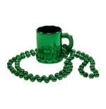 ST. PATRICK'S DAY Green Beer Mug Bead Necklace