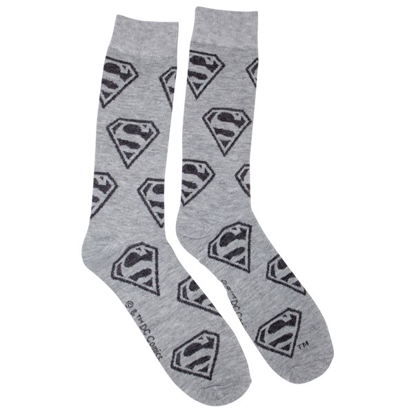 Superman Repeating Symbols Men's Grey Crew Socks
