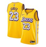 Men's Los Angeles Lakers LeBron James Nike Gold City Edition Swingman Jersey