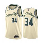 Men's Milwaukee Bucks Giannis Antetokounmpo Nike Cream City Edition Swingman Jersey