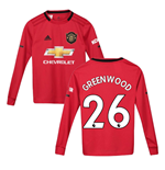 2019-2020 Man Utd Adidas Home Long Sleeve Shirt (Kids) (Greenwood 26)